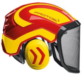 Casco protos integral amarillo rojo