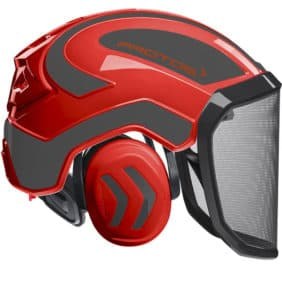 Casco protos integral rojo gris