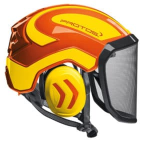 Casco Protos Integral naranja amarillo